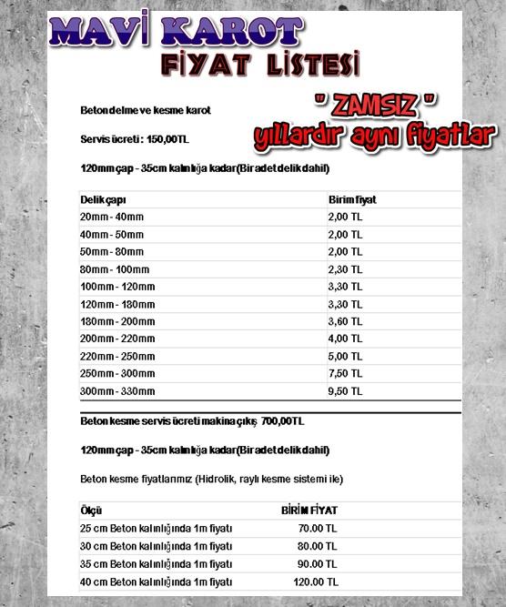 MAVİ KAROT , KAROT FİYAT LİSTESİ, OCAK 2019, 0537 920 40 25, 0542 220 40 32